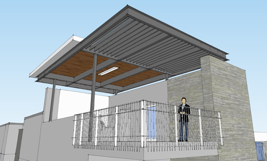 covered roof terrace 3d view