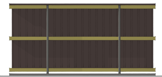 Modern Fence 3d rear elevation