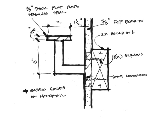 modern handrail detail drawing 02