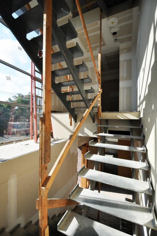 modern steel stairs - temporary handrails