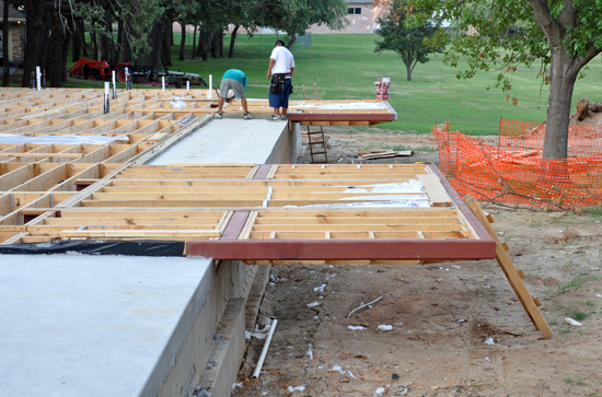 floor joist framing and HVAC at cantilevers