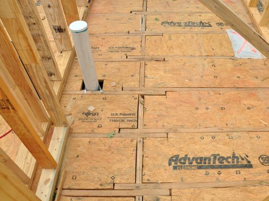 sub-floor decking at recessed bathrooms