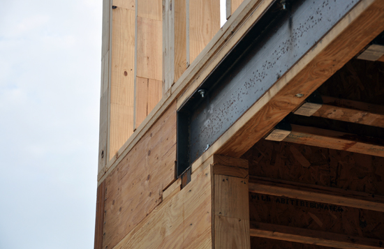 close up look at the steel I Beam header for trellis