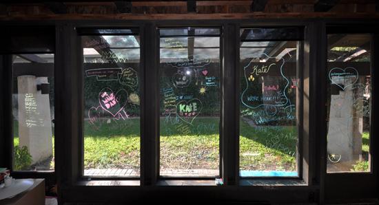 Crayon markings on window