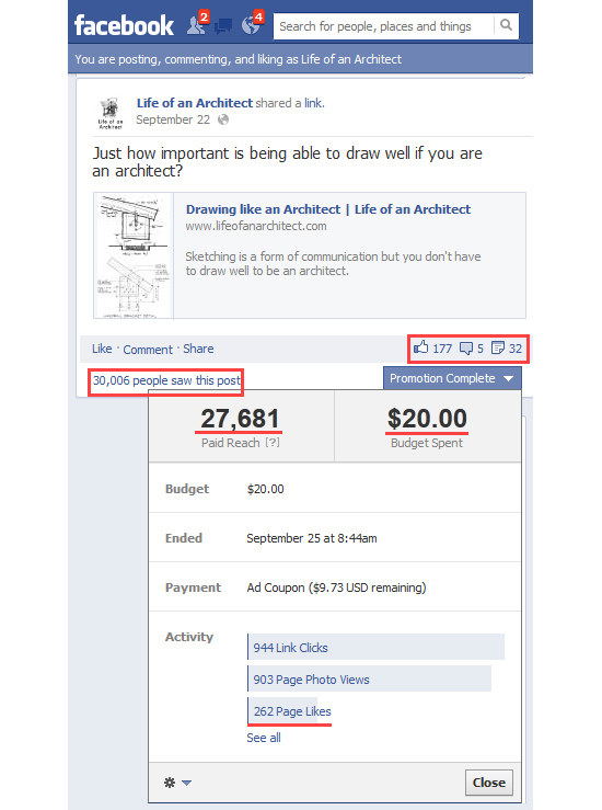 Life of an Architect Facebook Fan Page - Paid Promotion