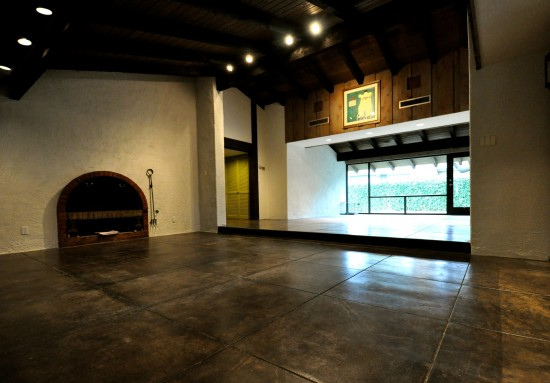 concrete floors in the Den