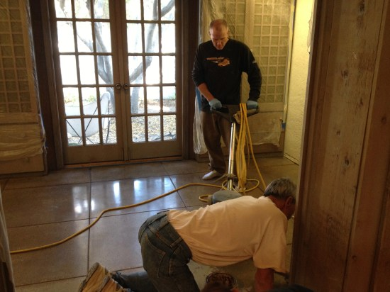 Concrete Polishing - putting the wax on and polishing it in