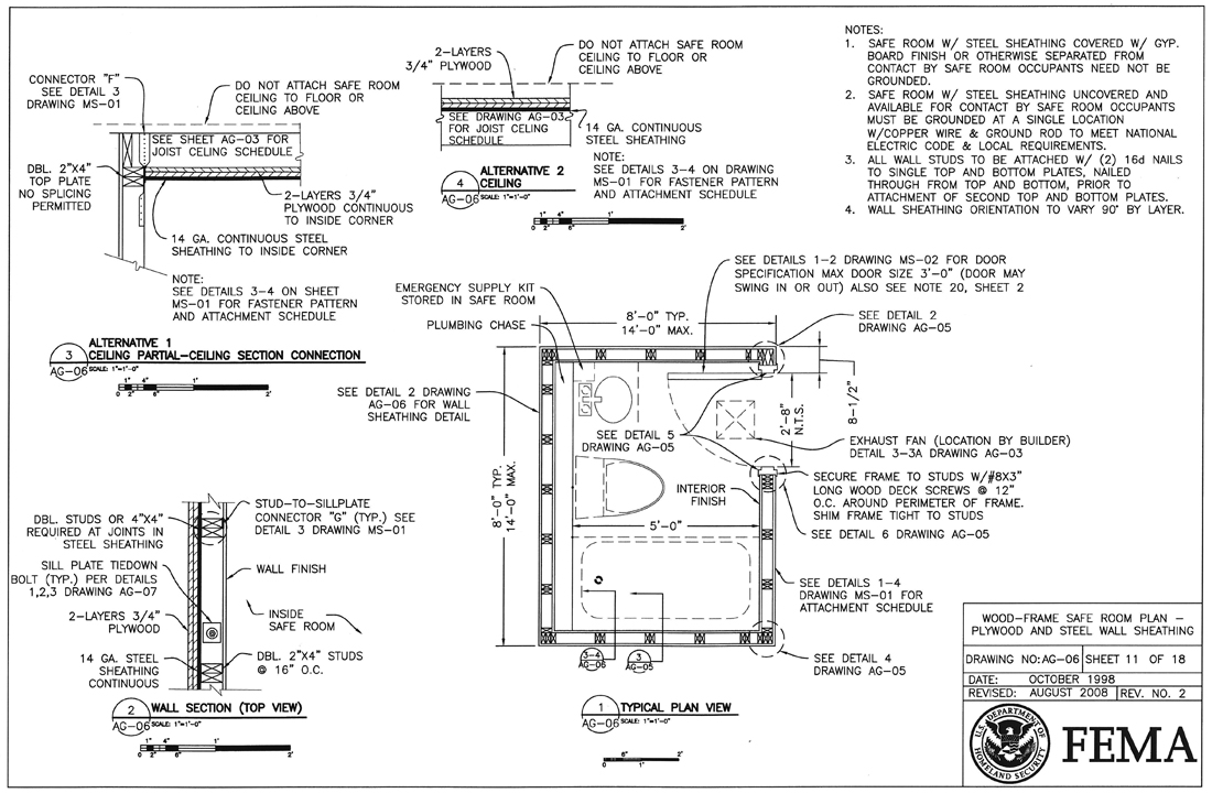 tornado shelters and safe rooms life of an architect rh lifeofanarchitect com  fema safe room design drawings