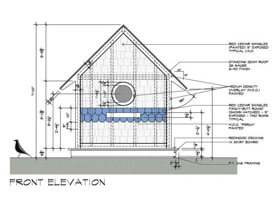 Birdhouse drawings Front Elevation design by Dallas Architect Bob Borson