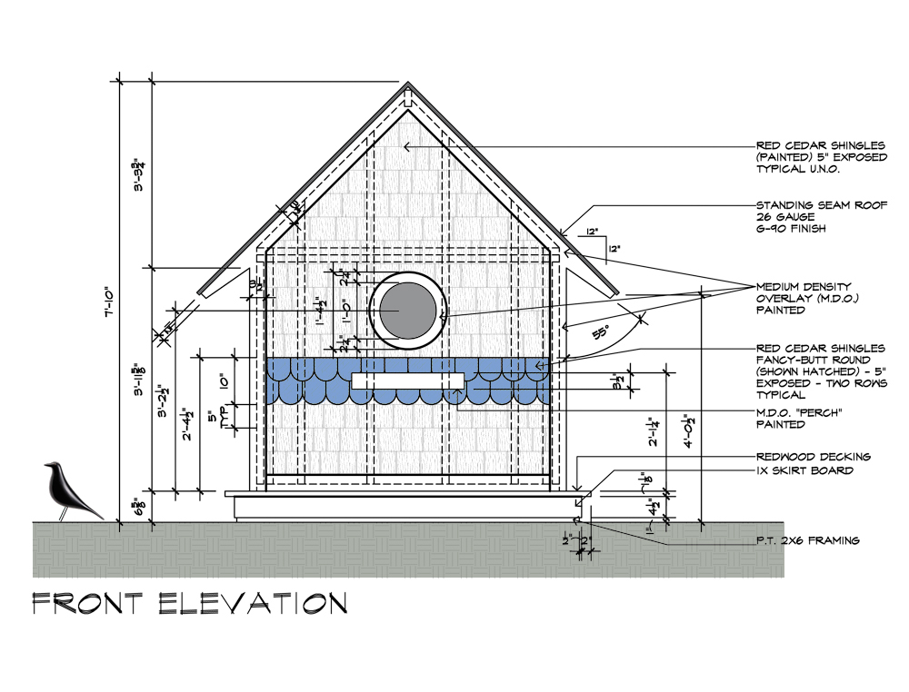 Birdhouse Drawings Front Elevation Design By Dallas