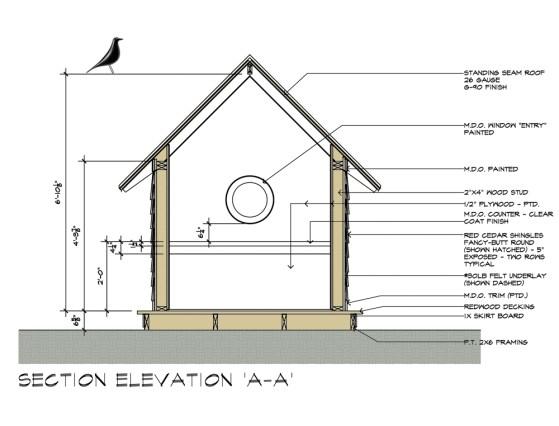 Birdhouse drawings - design by Dallas Architect Bob Borson