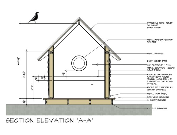 Birdhouse drawings - design by Dallas Architect Bob Borson