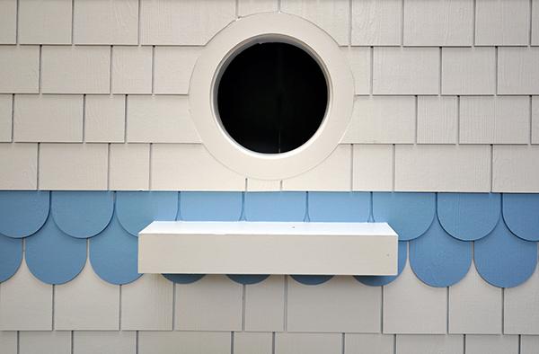 Close up detail of the Bird Playhouse designed by Dallas Architect Bob Borson