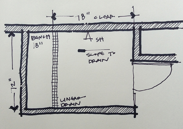 "Shower layout ""After"" sketch"