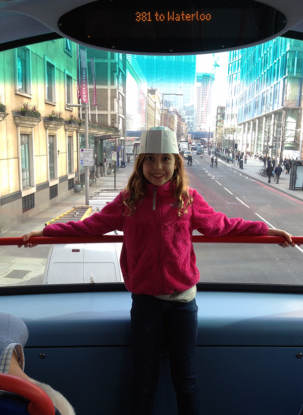 Kate on the Waterloo 381 Double Decker Bus