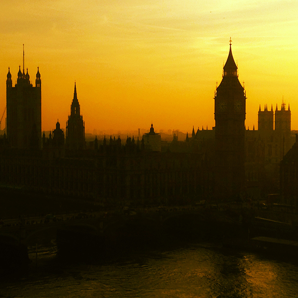 Westminster Palace from the London Eye at Sunset