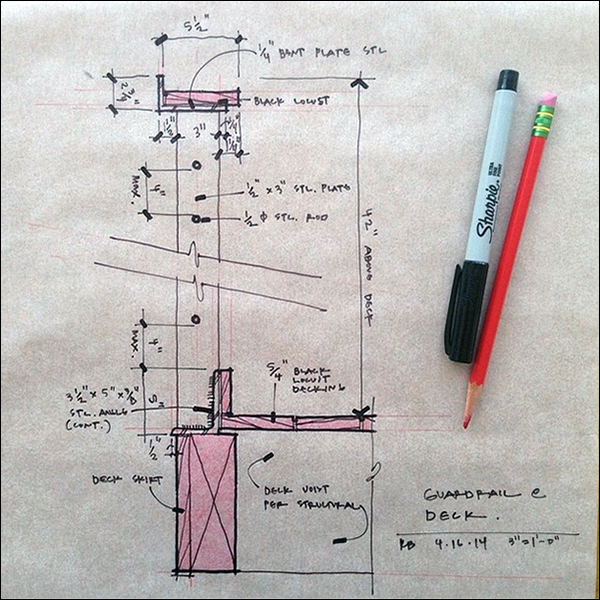 ArchiSketch Bob Borson deck handrail design