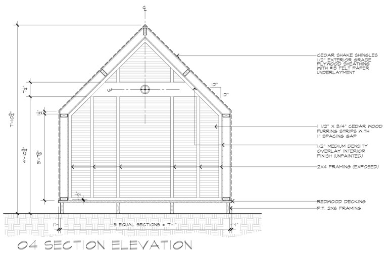 Lantern Playhouse Section Elevation by Dallas Architect Bob Borson