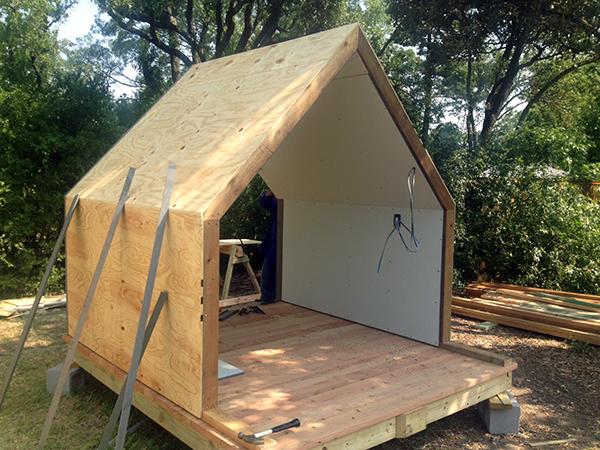 Lantern Playhouse adding the exterior sheathing