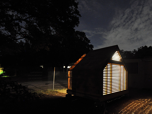 Lantern Playhouse Complete rear view at night