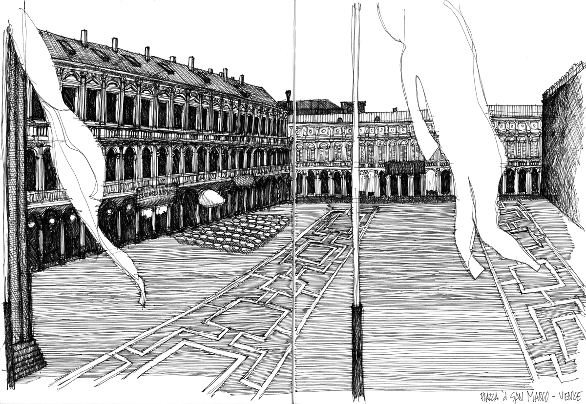 Piazza d' San Marco - sketch by Michael Malone