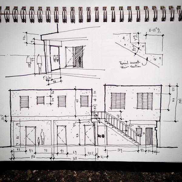 side courtyard sketch from Colegio Cristiano Marleidy in Santo Domigo