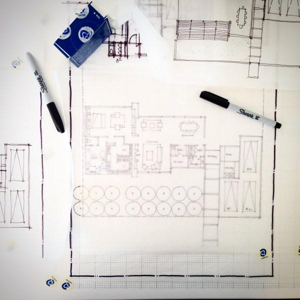 Schematic design sketch using graph paper