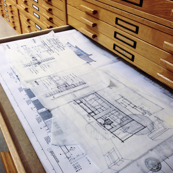 architectural sketches in a flat file