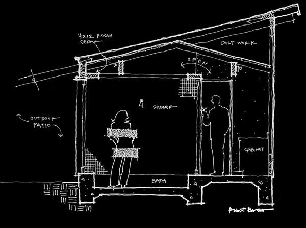 Bob Borson shower section sketch scale figures