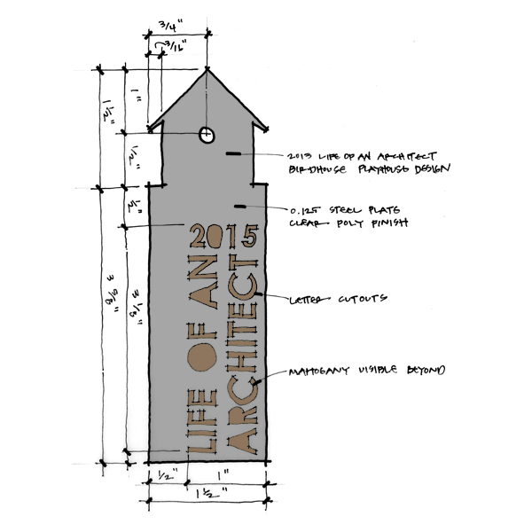 Life of an Architect Playhouse Trophy Concept sketch front elevation