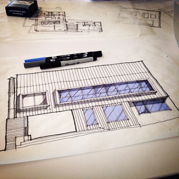 Bob Borson cabin sketch front elevation