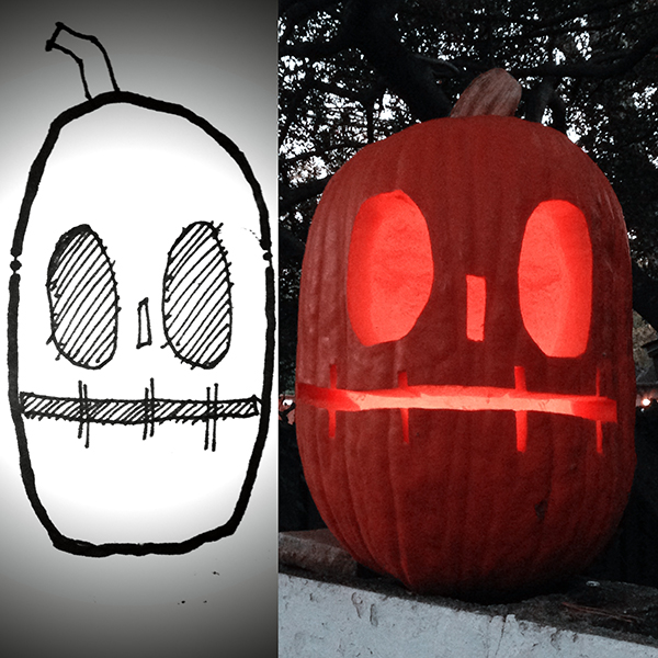 Bob Borson pumpkin sketch and pumpkin 2014