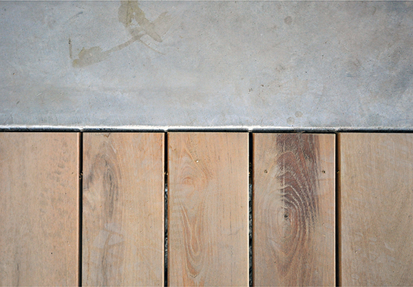 how the wood meets the concrete
