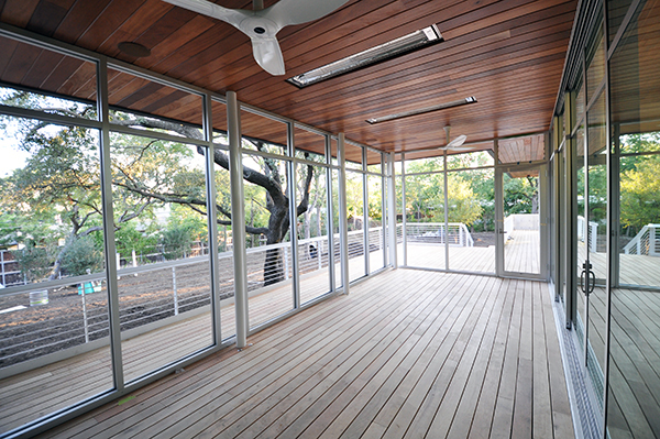 wood decking in the screened in porch