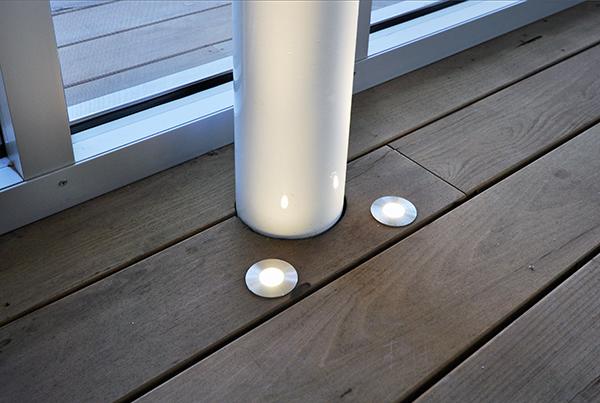 KHouse Modern column lights at screened porch