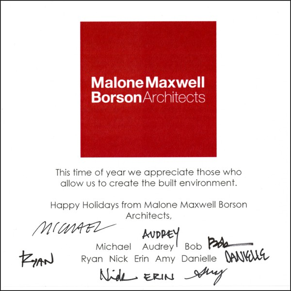 Everybody's signatures on the MMBA Christmas Card 1