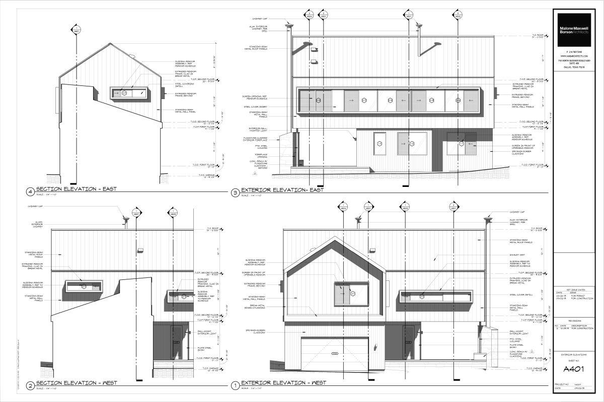 Modern Cabin Construction Drawings - Dallas Architect Bob Borson