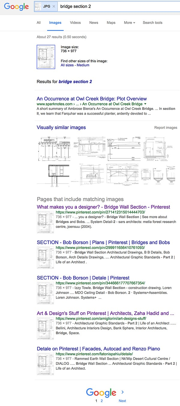 Google Search for Bridge Section