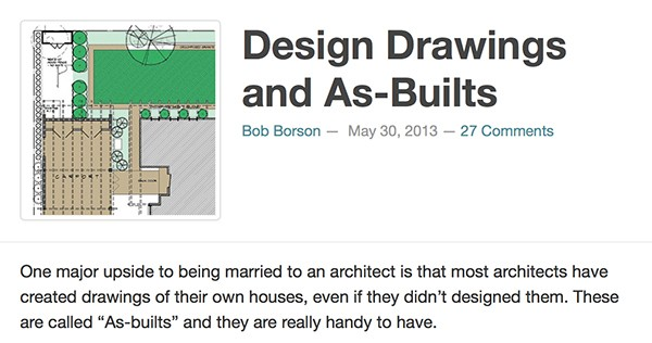 Bob Borson - Design Drawings and As Builts