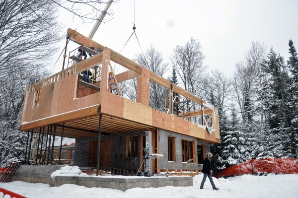 cabin corner view glulam beam in place