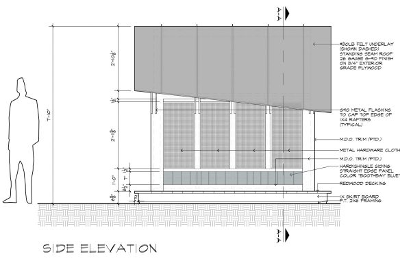Cottage Playhouse Side Elevation by Dallas Architect Bob Borson