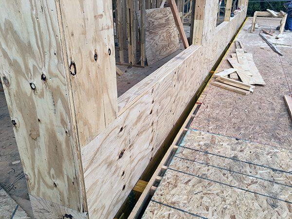 gap to allow brick to pass through