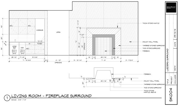 Bar and Fireplace Wall Construction Drawing