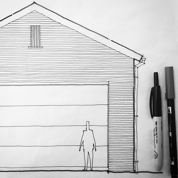 Original Garage Gable Sketch - Bob Borson