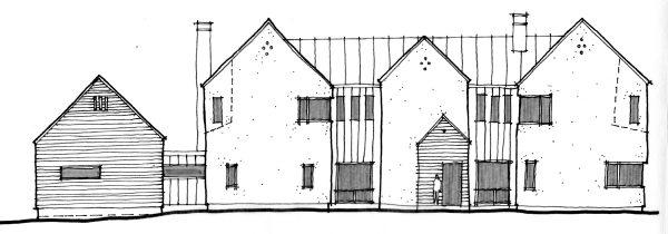 sketched exterior elevation scheme