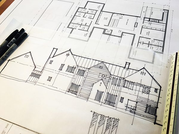 Superb sketching architectural exterior elevations