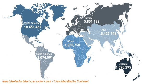Life of an Architect site traffic map by continent