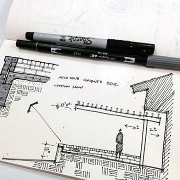 Bob Borson modern steel trellis concept sketch