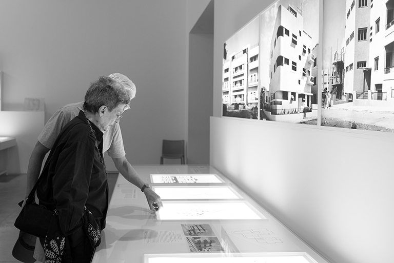 Phyllis Lambert exploring the exhibit with Israel Museum Director James Snyder   photo by Or Kaplan