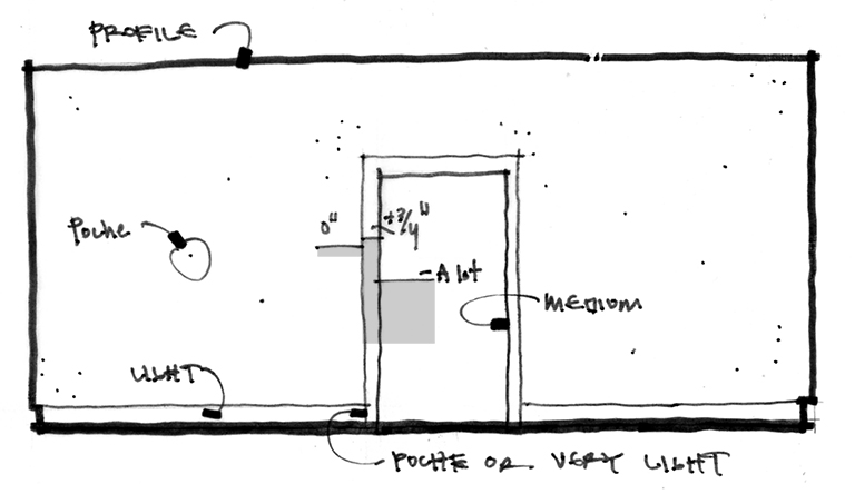 Architectural Graphics line weight elevation diagram